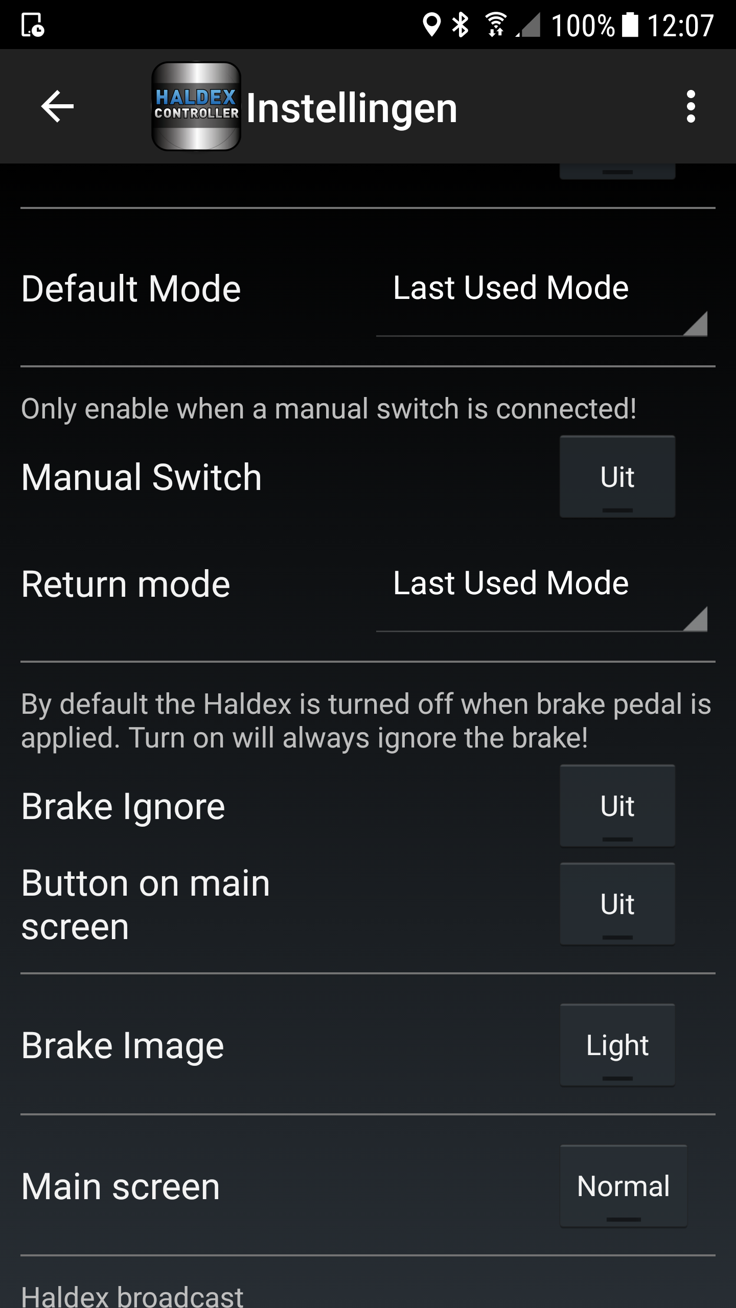 Haldex Controller Settings