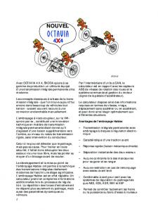 SSP 029 OCTAVIA 4 x 4 - Transmission intégrale