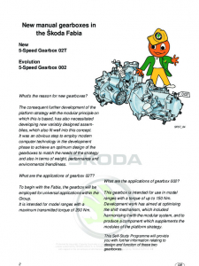 SSP 037 New manual gearboxes in the Škoda Fabia 5-Speed Gearbox 02T